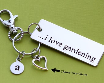 Personalized Gardener Key Chain I Love Gardening Stainless Steel Customized with Your Charm & Initial -K193