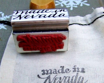 Made in Nevada Rubber Stamp, Unique Calligraphy Stamp, Paper Crafting, DIY Packaging