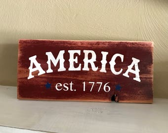 "Farmhouse America Wood Sign, Red and White Patriotic Sign, 4th of July Sign,  5.5"" x 12"""