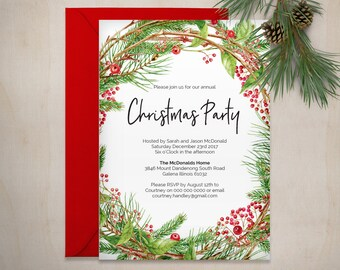 Christmas invitation printable christmas holly invitation printable christmas invitation template christmas wreath invite template instant download wlp534 stopboris Images