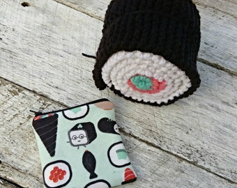 Sushi lovers gift set. Knit scarf and zipper pouch. Kawaii print sushi fabric. Color block scarf. Cute accessories.