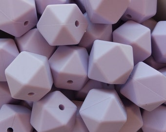 50-100 Silicone Beads Hexagonal 17mm color Lilac-BULK Silicone beads-50-100 hexagonal silicone beads 17mm-50-100 Silikon Perlen