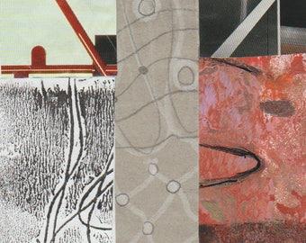 Briser le moule - Collage Original dessiné et peint à la main avec des papiers de 4 x 4 sur 5 x 5» support