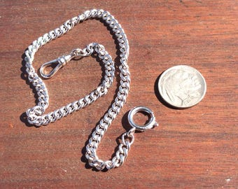 "Vintage Silver Tone 12"" Curb Link Pocket Watch Chain Spring C Clasp and Swivel Clasp ~ 5.5mm 15.16g"
