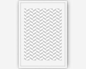 Silver Chevron Wall Art, Silver Print, Abstract Wall Art, Wall Art, Printable, Instant Download