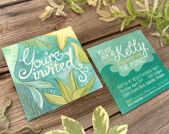 "Mermaid Themed ""Under the Sea"" Bridal Shower Invitations - DEPOSIT - Mermaid Bridal Shower - Artwork by Alicia's Infinity"
