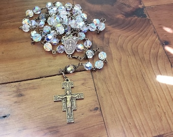 Catholic Rosary, San Damiano Crucifix and St Benedict center with Swarovski crystals, Confirmation gift, RCIA gift