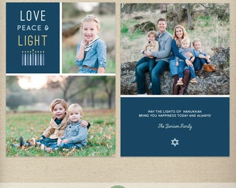 5x7 Hanukkah Card Template, Love Peace and Light, Festival of Lights, Photo Hanukkah Card, Multiple Photos - H56