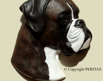Hand painted Brindle Boxer dog PERITAS wall sculpture statue fine art relief