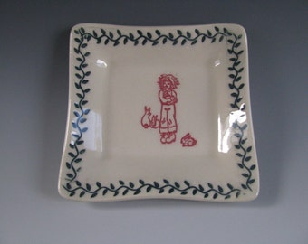 Trinket Tray in White with Green Leaves and Young Girl with Bunnies
