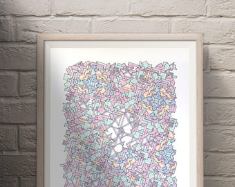 "Hand Drawn Geometric Art, Unique Urban Wall Art, Original Drawing, Abstract Patterns - ""Asymmetrical Tesselation"""