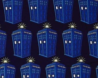 Doctor Who Tardis Comics Dr Who Police Public Call Box BBC Geek Cotton Fabric by Springs Creative Dr Who per fat quarter per metre FQ