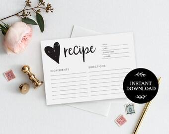 Recipe cards printable, INSTANT DOWNLOAD, Printable Recipe Card, Bridal Shower Recipe Card, DIY Recipe Cards, Rustic Recipe Cards - Georgie