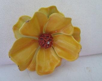 Yellow Enamel Flower Pin
