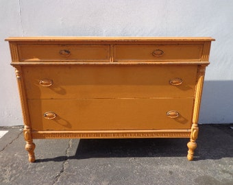 Antique Dresser Chest Drawers Vanity Rustic Primitive Farmhouse Shabby Chic Chippy Finish Country Bedroom Set Table CUSTOM PAINT AVAIL