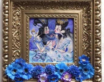 chinese tale pop surrealism flowers blue lotus guo pei gothic fashion illustration ORIGINAL (framed)