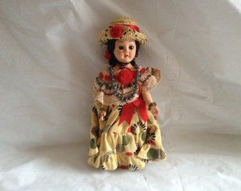 Vintage Panamanian Girl Doll Movable Eyelids ~ 1950s Panama Girl Doll