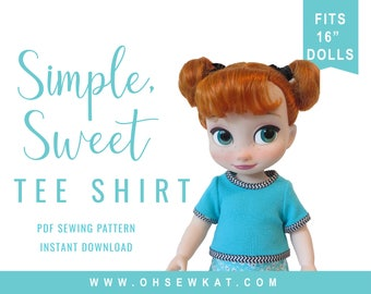 Animator Doll Clothes Sewing Pattern Disney ® Animators Doll Clothes  Princess Dress Up Easy Tee Shirt Sewing Pattern Simple Sweet Tee Shirt