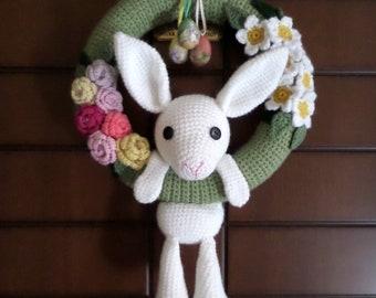 Crocheted Easter Wreath, Crochet Wreath, Wreath for Easter, Wreath, Flower Wreath, Floral Wreath, Spring Decor, Spring Door Decor