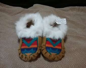 Handmade Toddler Size 11 Elk suede moccasins Rabbit Fur trim