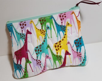 Quilted Zipper pouch, Giraffe, coupons or travel pouch, phone pouch, cosmetics
