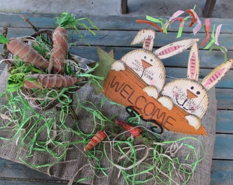 Spring Welcome Centerpiece Easter Bunny Centerpiece Carrot Centerpiece Wheelbarrow Centerpiece Spring Table Decor Welcome Table Decor