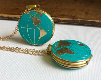 World Locket, Globe Locket Necklace, World Necklace, Earth Necklace, Travel Necklace, Map jewelry, Global Necklace, Planet Earth Locket, Mom