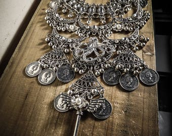 Silver necklace boho chic Steampunk Octopus Mermaid
