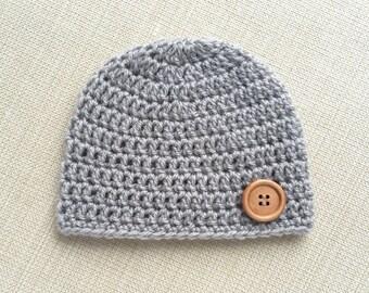 0 - 12 months baby boy hat, newborn boy beanie. Crochet baby hat for boy, infant newborn hat, cute baby beanie with button. New born props