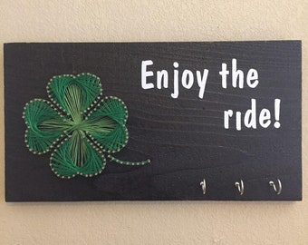 Clover Shamrock String Art Frame Key Holder