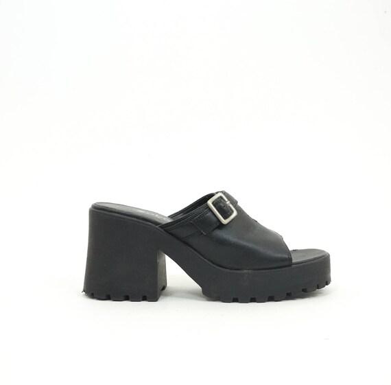 Sandals Treaded Sandals 8 Vintage Summer 90s Heels 90s Size Black Platform Chunky US Platforms Women's Soho Goth WxAPR48wHq