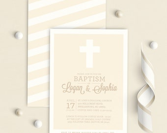 Twins Baptism Invitation, siblings baptism invitation, Twins Christening invitation, baptism invitation twins,  baptism invitation for two