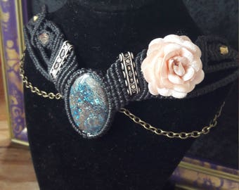 Azurite 925 Silver Swarovski Crystal Satin Rose Macrame Choker