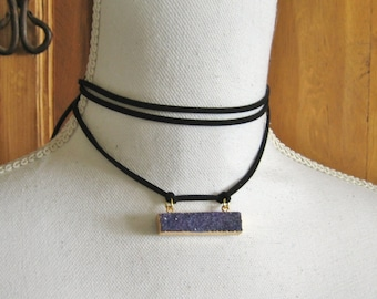 """Leather Wrap Necklace with Gold Plated Purple Druzy - 60"""" Vegan Leather Choker Tie Necklace - Boho Coachella Style Jewelry"""