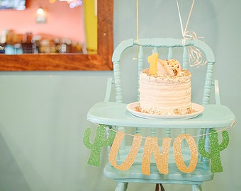 Cactus Party- Taco About a Party- Fiesta Party- Fiesta First Birthday- Uno Birthday Banner- Cactus Party Decor- Highchair Banner- Party