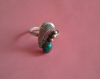 Turquoise Ring | vintage silver and cabochon stone feather stamped handmade authentic Native American jewelry rare 6 6.5