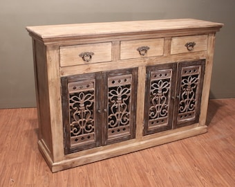 Rustic Solid Reclaimed wood 4 door 3 drawer Console / Sideboard / Media TV Stand