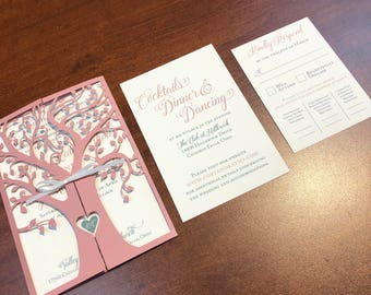 Laser Cut Tree Wedding Invitation