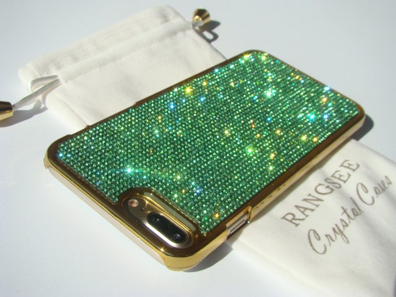 iPhone 8 Plus Case / iPhone 7 Plus Case Green Peridot Rhinestone Crystals on Gold Chrome Case. Velvet Pouch Included,