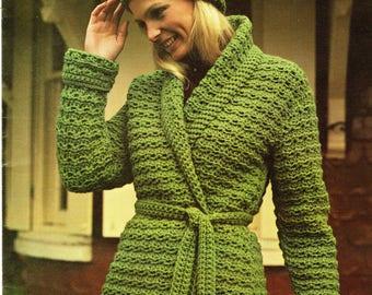 Crochet long coat etsy vintage crochet pattern hooded sweater coat jacket robe wrap vintage belted long open front printable pdf dt1010fo