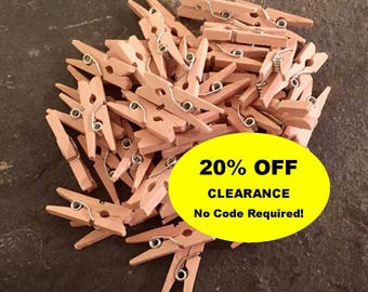 CLEARANCE 20% OFF - 45 Cute Mini Clothespins - 1 inch - Perfect for Crafts, Weddings, Parties & More