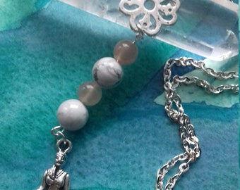 Anchor and femininity is sacred in Moonstone and howlite necklace