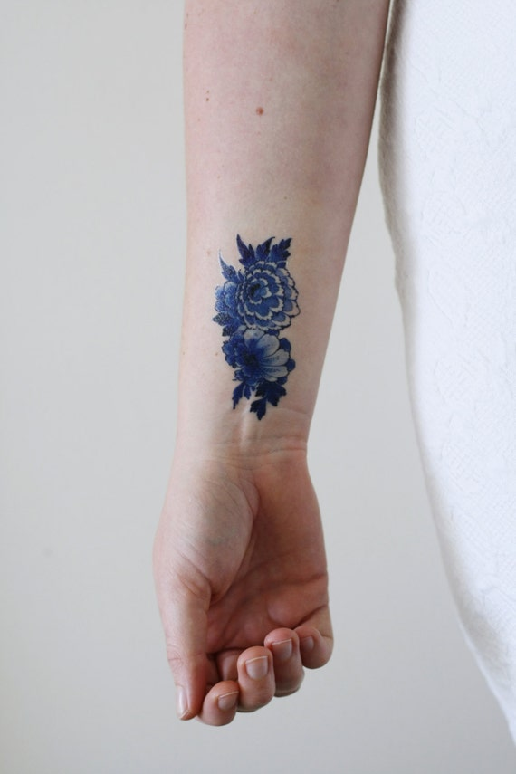 Delft blue temporary tattoo floral temporary tattoo for Floral temporary tattoos