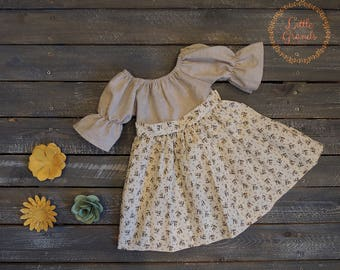 6 Month Beige and Brown Floral Peasant Dress