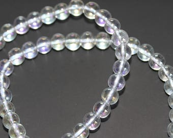Clear Quartz Mystic Plated Round Beads A Grade (Free UK Postage)