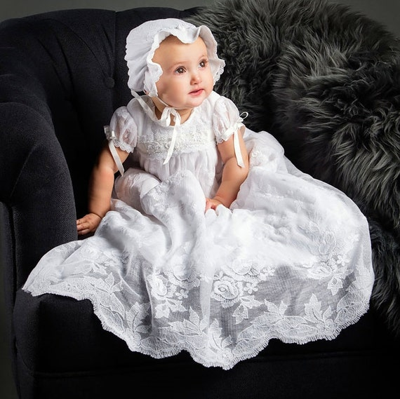 Louisa White Lace Christening Gown White Lace Baptism Gown