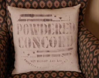 """Powdered Concord 16"""" Feedsack Pillow"""