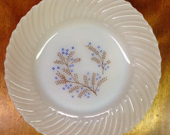 Vintage Termocrisa Milk Glass Bowl With Blue Flowers, Made In Mexico