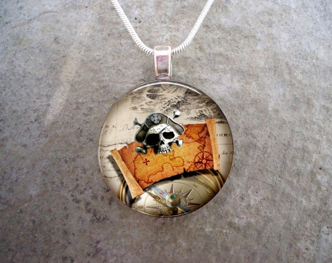 Pirate 3 - Pirate Skull and Treasure Map Jewelry - Glass Pendant Necklace