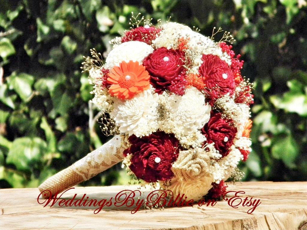 Sola Bouquet Fall Bouquet Burgundy Bouquet Burgundy Orange